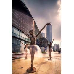 铜人物雕塑 芭蕾舞蹈喷水人物雕塑 广场艺术水景摆件图片