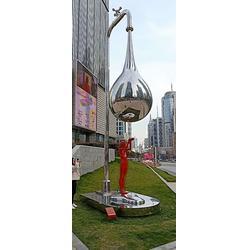 不锈钢镜面水龙头雕塑 城市环保标识雕塑工程图片
