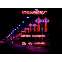 路灯杆装饰灯笼效果-春节街道装饰喜庆灯-中国结灯笼中国心国旗等等图片