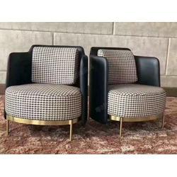 西餐厅家具厂家设计师定制款餐椅 沙发椅实木架安装电镀钛金脚套西餐厅椅子图片