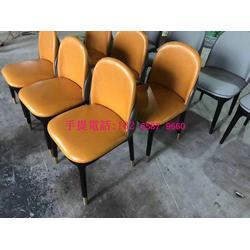 黄色皮餐椅,网红餐厅实木椅子报价,带铜脚实木椅图片