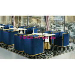 西餐厅桌椅沙发定制款式,高档咖啡厅沙发椅搭配石材桌子图片