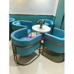主题咖啡厅沙发订做,西餐厅桌椅,现代轻奢风餐饮桌椅卡座沙发粤时尚家具图片