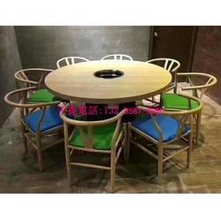 火锅店家具定制款式,圆形火锅桌椅组合定制,实木火锅桌子椅子图片