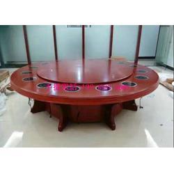 大包房圆形火锅桌子定制款式,一人一锅火锅桌实木火锅台带电动转盘图片