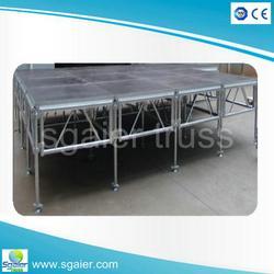 供应铝合金钢铁雷亚折叠舞台钢铁t台 铝合金舞台架直销 拼装活动舞台图片
