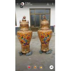 铸铜雕塑 花瓶 景泰蓝,金属工艺品仿古大花纯铜贴金景泰蓝纯铜家具定制雕塑图片