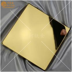 高清镜面钛金装饰板材料 304电镀黄钛金色超精磨不锈钢镜面板图片