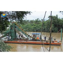 河道淘金船 链斗式淘金船图片