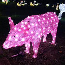 厂家定制滴胶动物造型灯十二生肖造型灯3D小猪造型灯公园景观灯图片