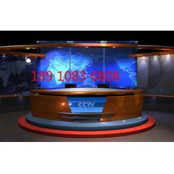 播音桌电视台演播室直播桌访谈桌主持桌子导播桌演播桌图片