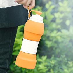 运动水杯 硅胶水瓶户外健身跑步 儿童耐摔便携可折叠软水壶随身杯图片