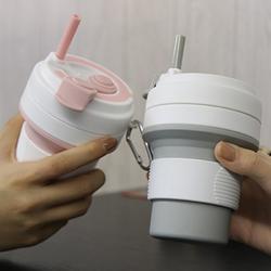 350ml创意运动水杯密封防漏咖啡杯 户外旅行便携硅胶折叠杯图片