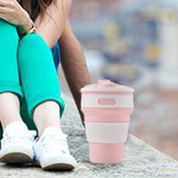 硅胶折叠水杯旅行杯 便携咖啡杯伸缩随手杯户外随行保温暖手杯图片