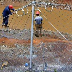 RX050被动防护网基座钢柱-俊川科技-RX050被动防护网图片