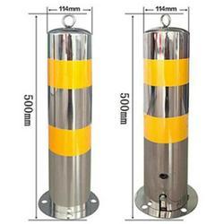 304不锈钢警示柱固定隔离防撞柱不锈钢路桩 交通道路警示桩图片