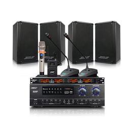 狮乐会议音响套装 背景音乐培训设备会议室系统 蓝牙USB功放壁挂音箱无线麦克风话筒套餐 AV108+108*4黑1拖4+SH-10图片