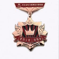 研究院纪念章定制,烤漆创意勋章制作,奖励勋章生产图片