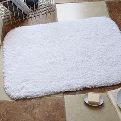五星级酒店浴室防滑垫 长绒棉白色长毛地巾 加厚吸水纯棉毛巾地垫图片