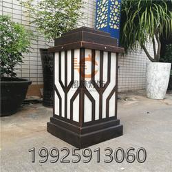 中式古典柱头灯仿云石矮柱灯小区楼盘石墩柱子灯扫古铜复古落地水景灯图片
