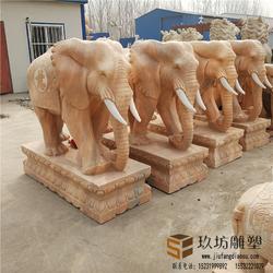 石雕大象一对汉白玉风水招财纳福吉祥公司门口晚霞红风水雕刻小象图片