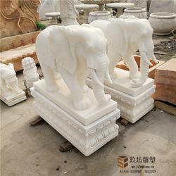 石雕大象汉白玉镇宅招财庭院看门小象晚霞红石象一对风水象门口图片