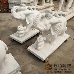 汉白玉石雕大象一对门口招财纳福风水象别墅酒店会所吸财雕塑大象图片