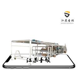 电动车挡风材料 砂纸绒布涂布机 无纺布防水透气膜复合机 服装面料复合机图片