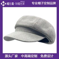 帽子女英伦帽羊毛画家贝雷帽毛呢八角帽休闲帽定制图片