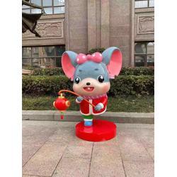 鼠年吉祥物玻璃钢雕塑美陈摆件新年鼠老鼠模型拜年鼠图片