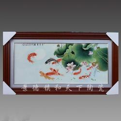 陶瓷瓷板手绘壁挂瓷器画商务礼品用瓷青花瓷板画定做生产厂家图片