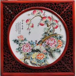 陶瓷瓷板画手绘瓷板挂画名家挂屏有框画富贵长寿图片