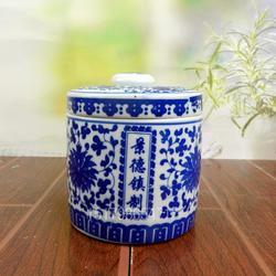 青花陶瓷膏方罐子中药包装密封瓷瓶面粉大豆储存臊子肉罐罐图片
