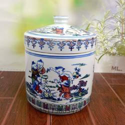 膏方罐陶瓷直筒蜂蜜罐茶叶罐陶瓷硅胶密封中药膏图片