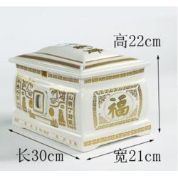 陶瓷器棺材大号青花骨灰盒寿石棺殡葬用具拣骨坛罐盅男女款图片