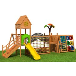 幼儿园防腐木滑梯 儿童钻洞爬网 小型组合滑梯轮胎攀爬架图片