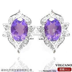 供应天然水晶饰品 天然紫水晶耳饰图片