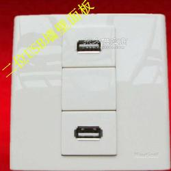 二位USB接口充电墙壁面板厂家图片