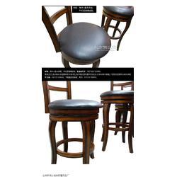 供应实木酒吧吧椅皮面吧椅室内家具休闲吧椅图片