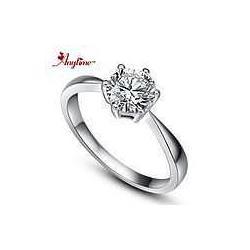 纯银镶钻戒指图片