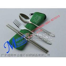 枕型布包幸运草不锈钢叉勺直筷时尚餐具套装图片