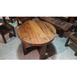 旧船木圆形餐台上好古船木餐桌沉船木家具订做图片