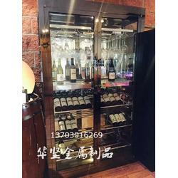 定制别墅 酒店红酒架酒窖酒柜定制 红酒柜不锈钢双开门恒温酒柜图片
