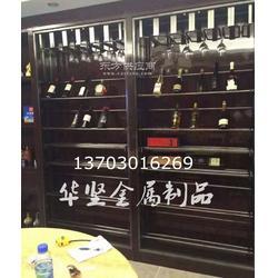 酒柜定制厂家恒温柜红酒不锈钢架洋酒陈列架送货安装图片