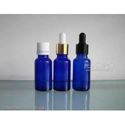 供应20ml蓝色玻璃精油瓶 配电化铝盖 胶头滴管图片