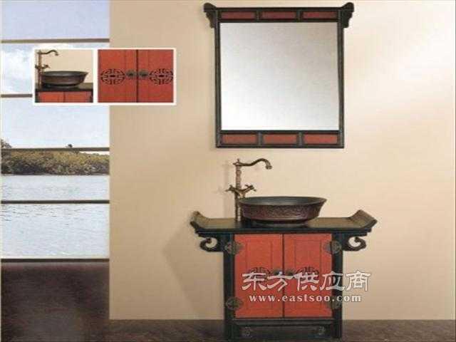 中式小尺寸浴室柜实木洗手柜台上铜盆洗手盆图片
