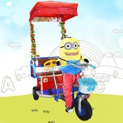 广场动物拉车 发光碰碰车公园广场游乐 儿童成人可坐三轮电动车图片
