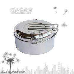 不锈钢圆型饭盒,不锈钢单层便当盒,双夹盖扣饭盒图片