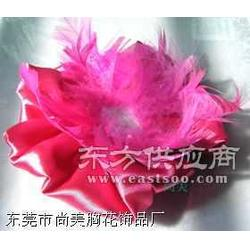 玫红色色丁布加羽毛时尚定型胸花帽花图片