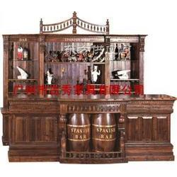 实木休闲仿古吧台 古典风格酒柜图片